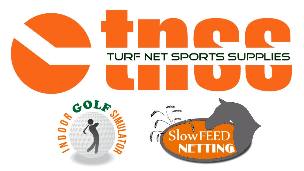 turf net sports supply, slow feed netting and indoor golf logo