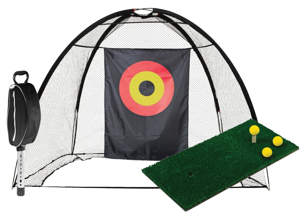 Complete home golf net cage and tee-off matt