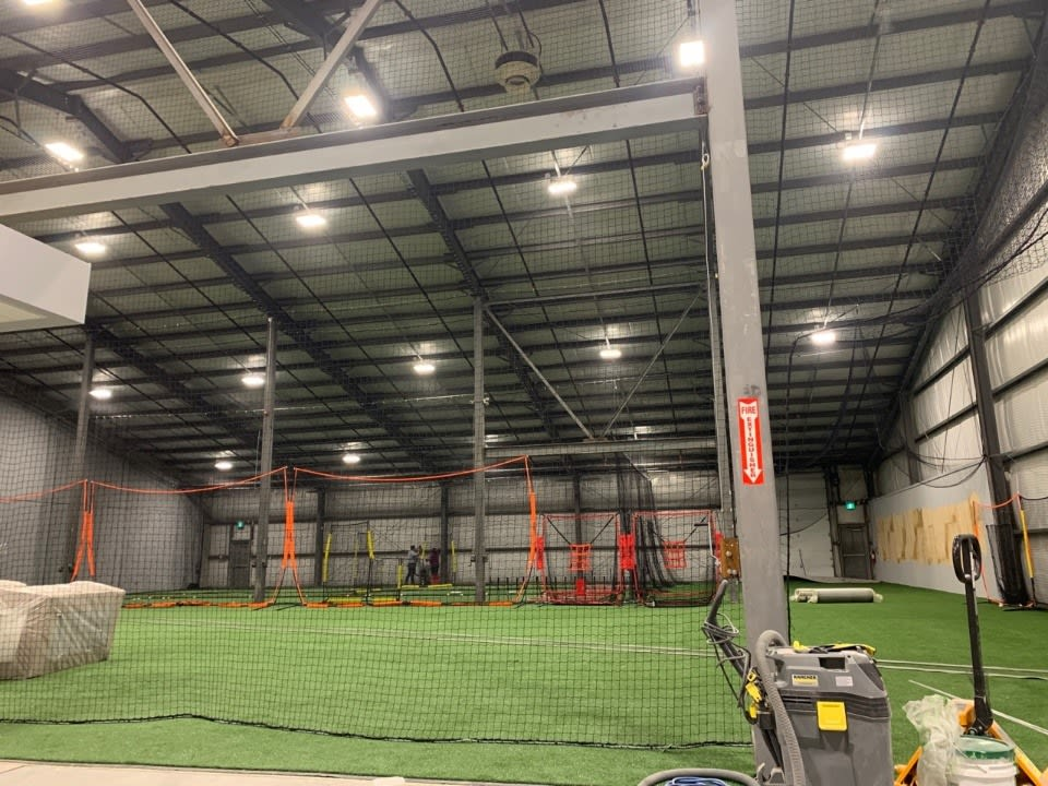 finished turf and batting cage installation